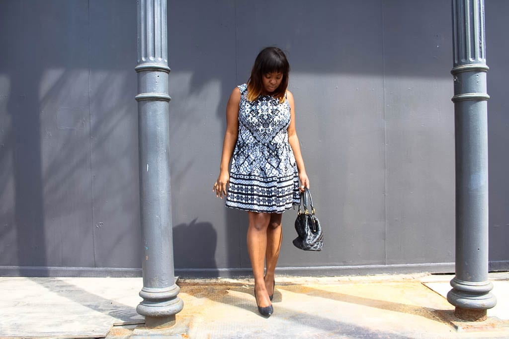 Paisley Black & White Dress